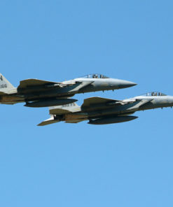 2 USAF F-15 Aircraft Flying Side by Side