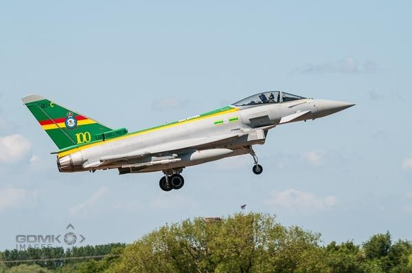 RAF 3 Squadron 100th Anniversary colour scheme Eurofighter Typhoon landing at RAF Coningsby