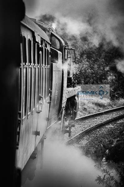 Black and white picture of Bulleid Light Pacific 4-6-2 steam loco no 34053 Sir Keith Park