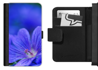 Blue Geranium flower picture on mobile phone flip case