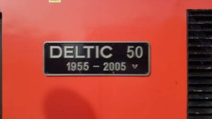 Deltic 50 nameplate on a Class 43 HST power car