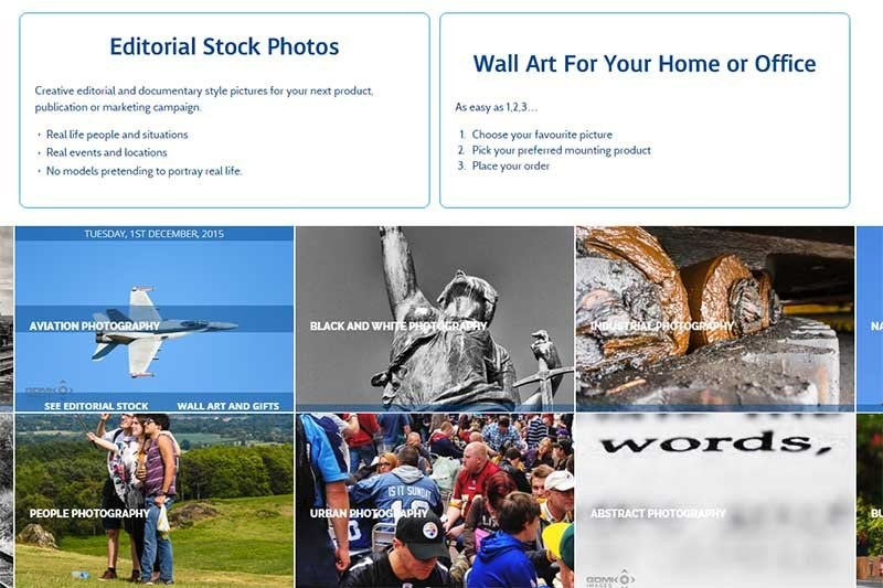 GDMK Images Home Page showing direct links to editorial stock gallery and wall art gallery
