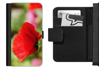 Red Poppy picture on mobile phone flip case