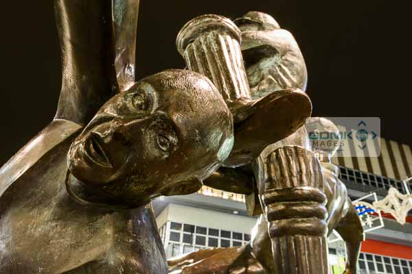 Night time closeup of the Sporting Success statue in Leicester