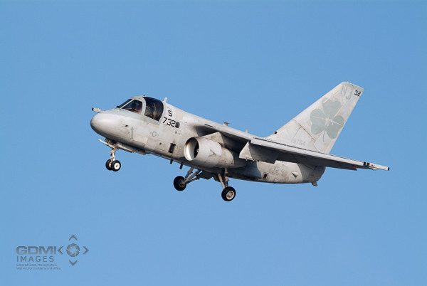 US Navy S3 Viking aircraft turning on short approach