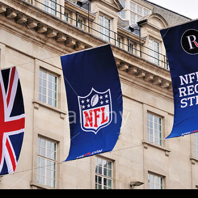 Flags and banners hanging along Regent Street during the NFL block party on 28th September 2013