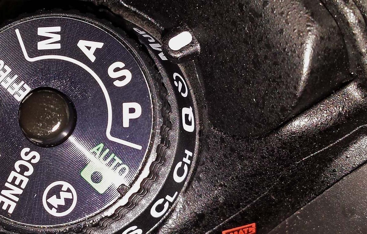 Shutter priority selected on a Nikon D7200 camera mode selector dial
