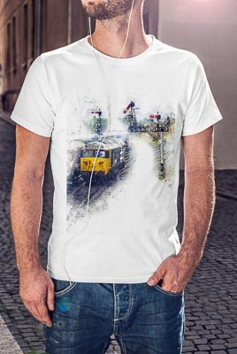 T Shirt featuring a digital art image of a Class 50 Diesel train
