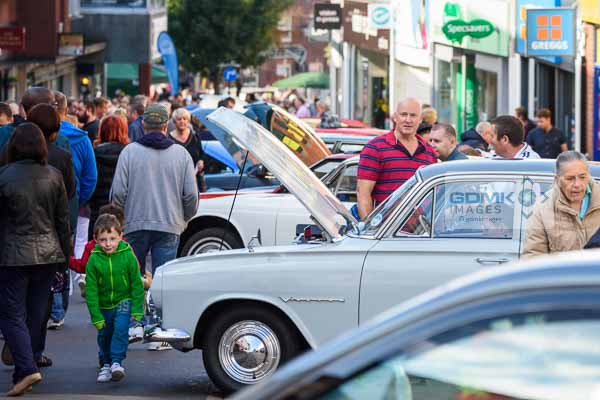 Crowds walking along Castle Street in Hinckley during the Classic Car Show on 20th September 2015