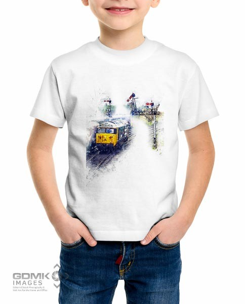 Kids T Shirt featuring a digital art image of a Class 50 Diesel loco