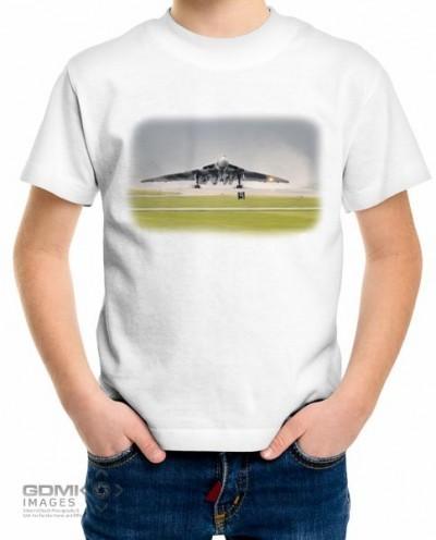 Kids Vulcan bomber digital art design on a white t shirt