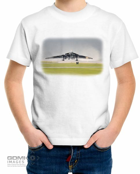Kids Vulcan bomber digital art design on a white t shirt