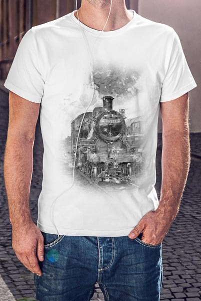 Black and white digital art creation of a steam loco on an adults white t-shirt