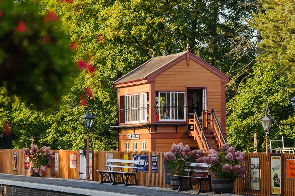 Arley signalbox in evening light on the Severn Valley Railway