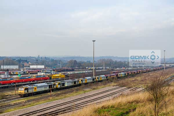 Long line of disused class 60 diesel locos at Toton depot in Nottinghamshire