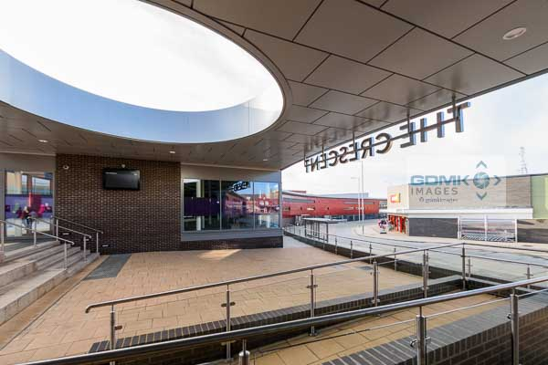 The remodelled bus station in the new 'The Crescent' shopping centre in Hinckley