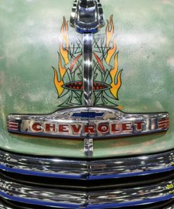 Bonnet artwork on a Chevrolet truck on display at the 2016 London Classic Car Show