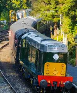 Class 20 D8059 arrives with its passenger train at Highley on the Severn Valley Railway