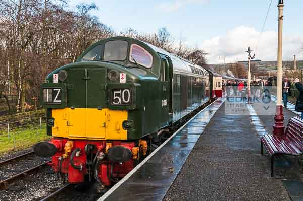 Class 40 diesel hauled train recreating the 1960s British Rail look at Rawtenstall on the East Lancs preserved railway.