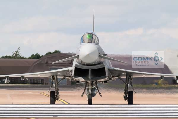Royal Air Force Eurofighter Typhoon crossing the runway after landing.