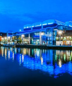 Lights from the waterfront buildings reflected in Brayford Pool Lincoln