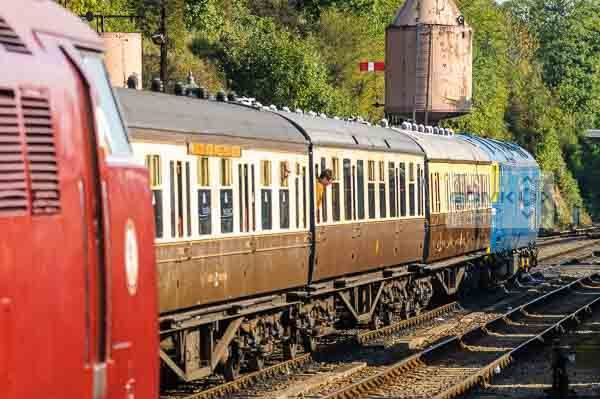 Class 52 Western D1062 stands next to a train headed by Class 50 50035 at Bewdley on the Severn Valley Railway