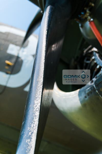 Closeup of a World War 2 USAAF C47 Dakota propellor and engine