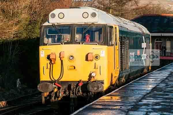 50015 Valiant at Rawtenstall railway station during the East Lancs Railway English Electric theme day on 11th January 2014.