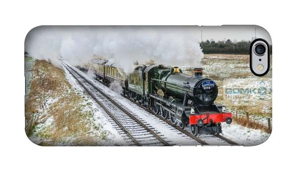 Hall class 4-6-0 Witherslack Hall steam train heading through the snowy Leicestershire countryside on the Great Central Railway mobile phone case