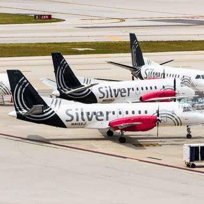 4 Silver Airways Saab 340 airplanes at Fort Lauderdale Hollywood airport