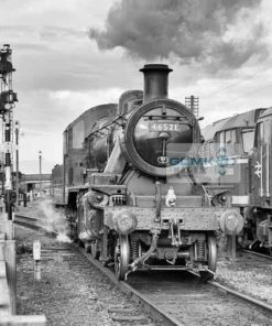 Ivatt Class 2 steam loco at Loughborough on the Great Central Railway