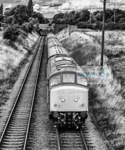 Black and white image of class 45 diesel locomotive D123 recreating a scene from the 1970s and 80s as it heads a train on the Great Central Railway near Loughborough