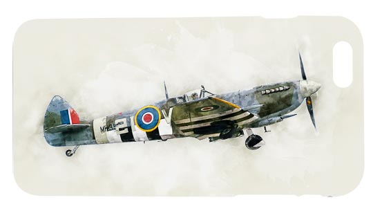 Mobile Phone Case of Digital painting of WW2 Spitfire Mk IX MK356 wearing D-Day invasion stripes