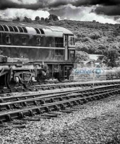 Class 33 D6575 ex 33057 in black and white at Toddington on the GWSR