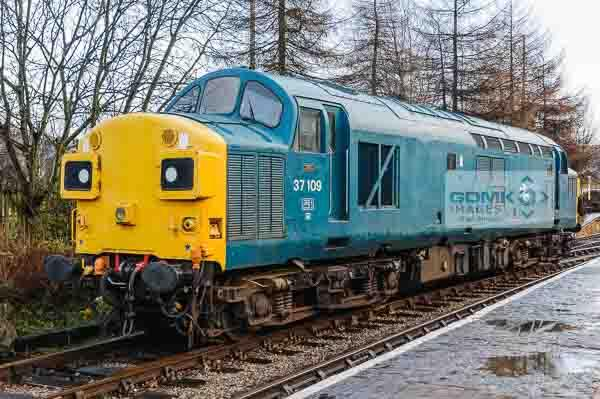 37109 running around its train at Rawtenstall Railway Station on the East Lancs Railway during the English Electric theme day on 11th January 2014.  The class 37 will take the train back to Heywood.
