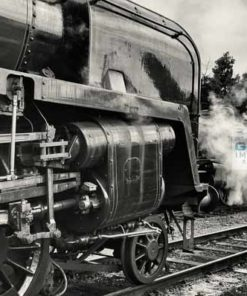 Black and white picture of Class 9F 92214 with Class 2MT 46521 steaming in the background