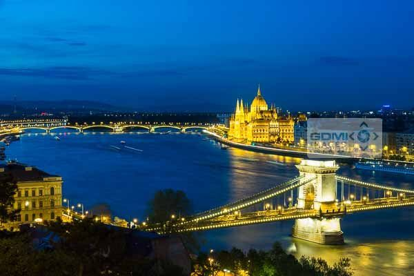 Looking down on the Chain Bridge, River Danube and Parliament building in Budapest in evening light