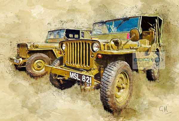 Digital art picture of 2 World War 2 era Hodgkiss Jeeps