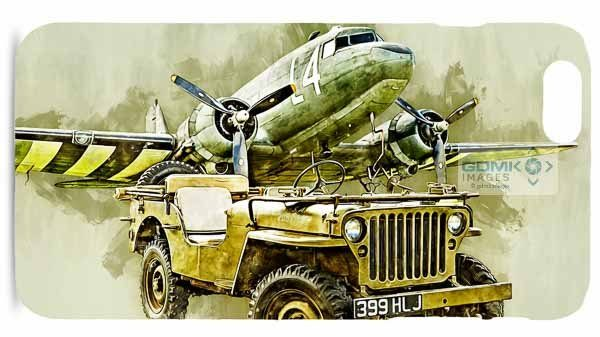 Willys Jeep in front of a C-47 Skytrain