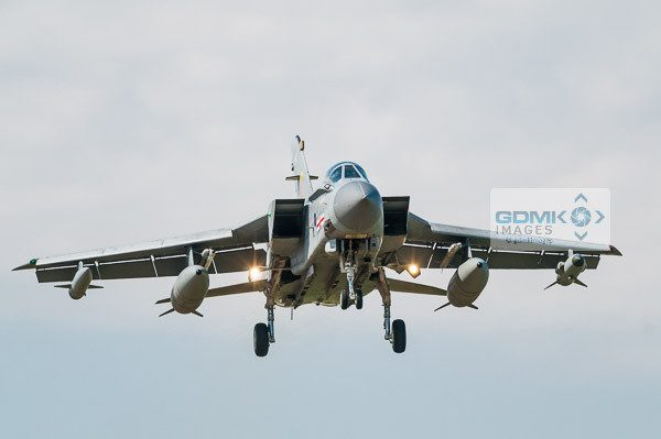 RAF 41 Squadron Tornado aeroplane approaching head on with landing gear down