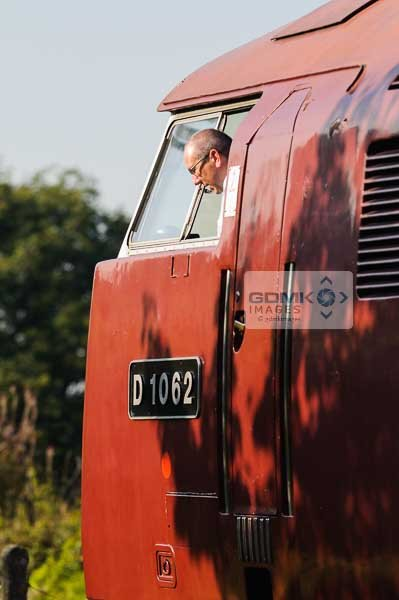 Train driver looking out of the window of Class 52 Western D1062