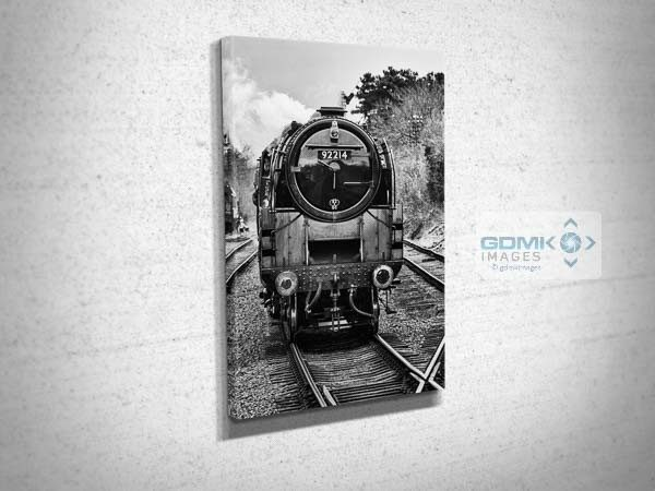 Black and White Front of BR Class 9F Steam Loco Canvas Print