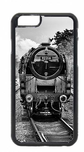 Black and White Front of BR Class 9F Steam Loco Mobile Phone Cases