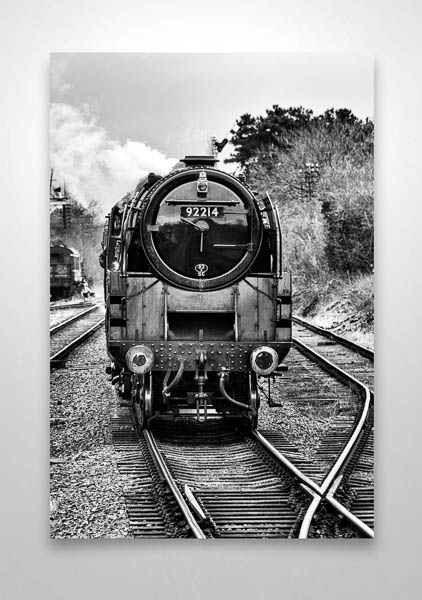 Black and White Front of BR Class 9F Steam Loco Wall Art Print