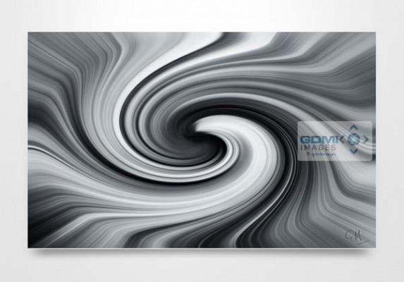 Black and White Vortex Digital Art Wall Art Print