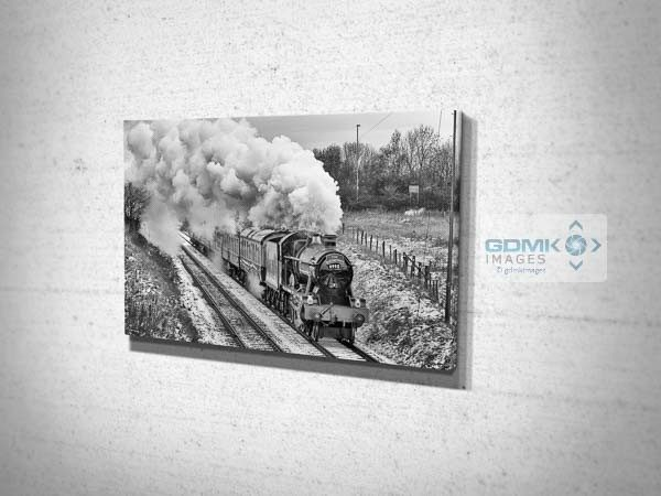 Black and White Witherslack Hall in the Snow Canvas Wall Art Print