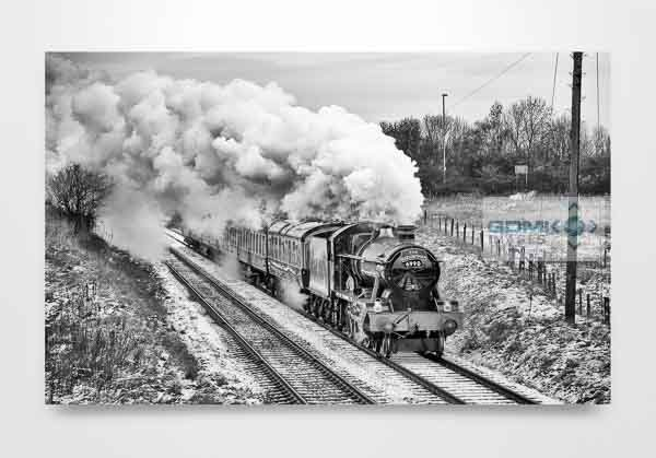 Black and White Witherslack Hall in the Snow Wall Art Print