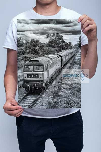 Man Holding Black and White Class 47 Wall Art Print