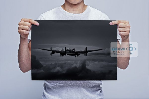 Wall Art print featuring a Lancaster Bomber taking off into a moonlit sky