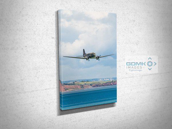 C-47 Dakota Low Over the sea Canvas Print